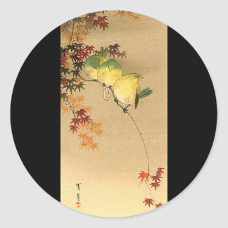 Green Birds on Maple Tree, Japanese Art c.1800s Classic Round Sticker