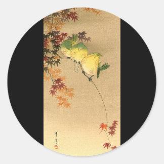 Green Birds on Maple Tree, Japanese Art c.1800s Classic Round Sticker