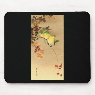 Green Birds on Maple Tree, Japanese Art c.1800s Mouse Pad