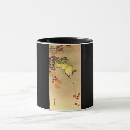 Green Birds on Maple Tree, Japanese Art c.1800s Mug