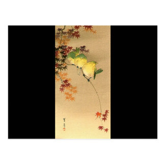 Green Birds on Maple Tree, Japanese Art c.1800s Postcard