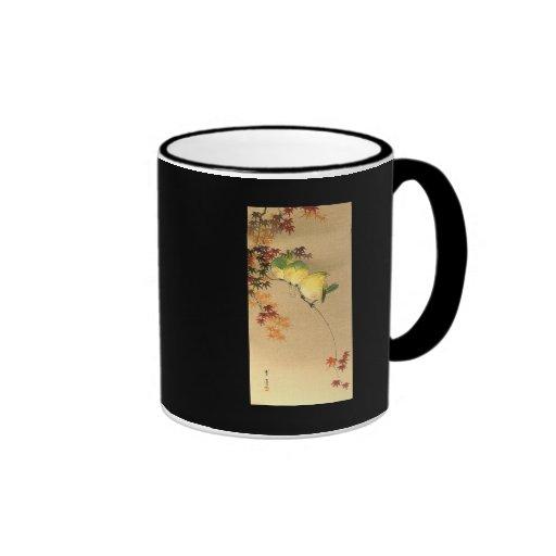 Green Birds on Maple Tree, Japanese Art c.1800s Ringer Coffee Mug