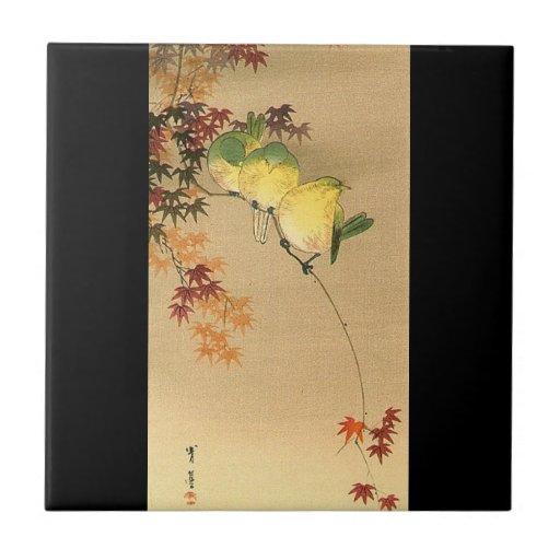 Green Birds on Maple Tree, Japanese Art c.1800s Small Square Tile