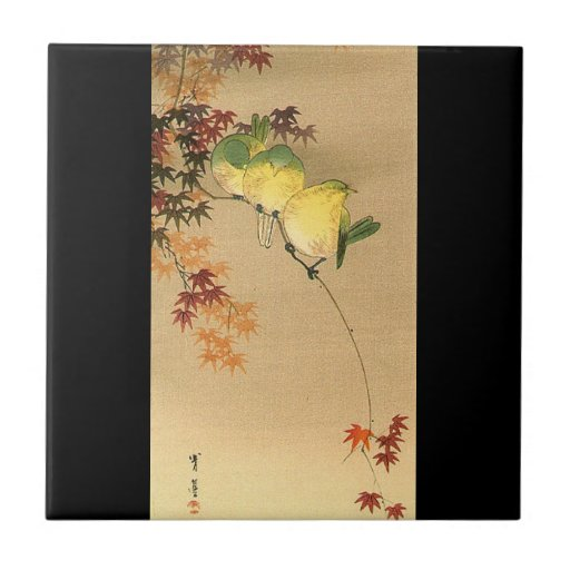 Green Birds on Maple Tree, Japanese Art c.1800s Ceramic Tile