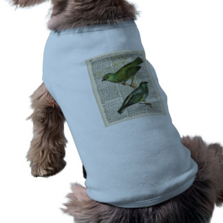 Green  Birds Over Vintage Dictionary Book Page Shirt