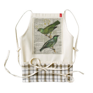 Green  Birds Over Vintage Dictionary Book Page Zazzle HEART Apron