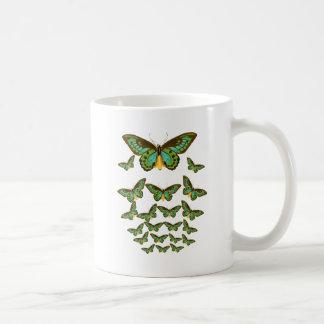 Green Birdwing Butterflies Swarm Upward Coffee Mug