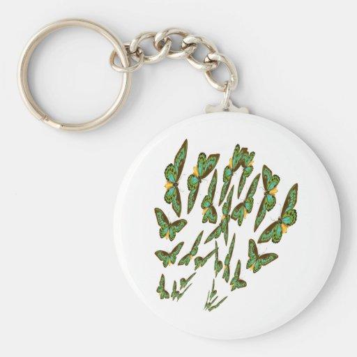 Green Birdwings Swarms Merging Basic Round Button Keychain