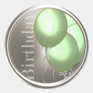 Green Birthday Balloons Silver Envelope Seal Classic Round Sticker