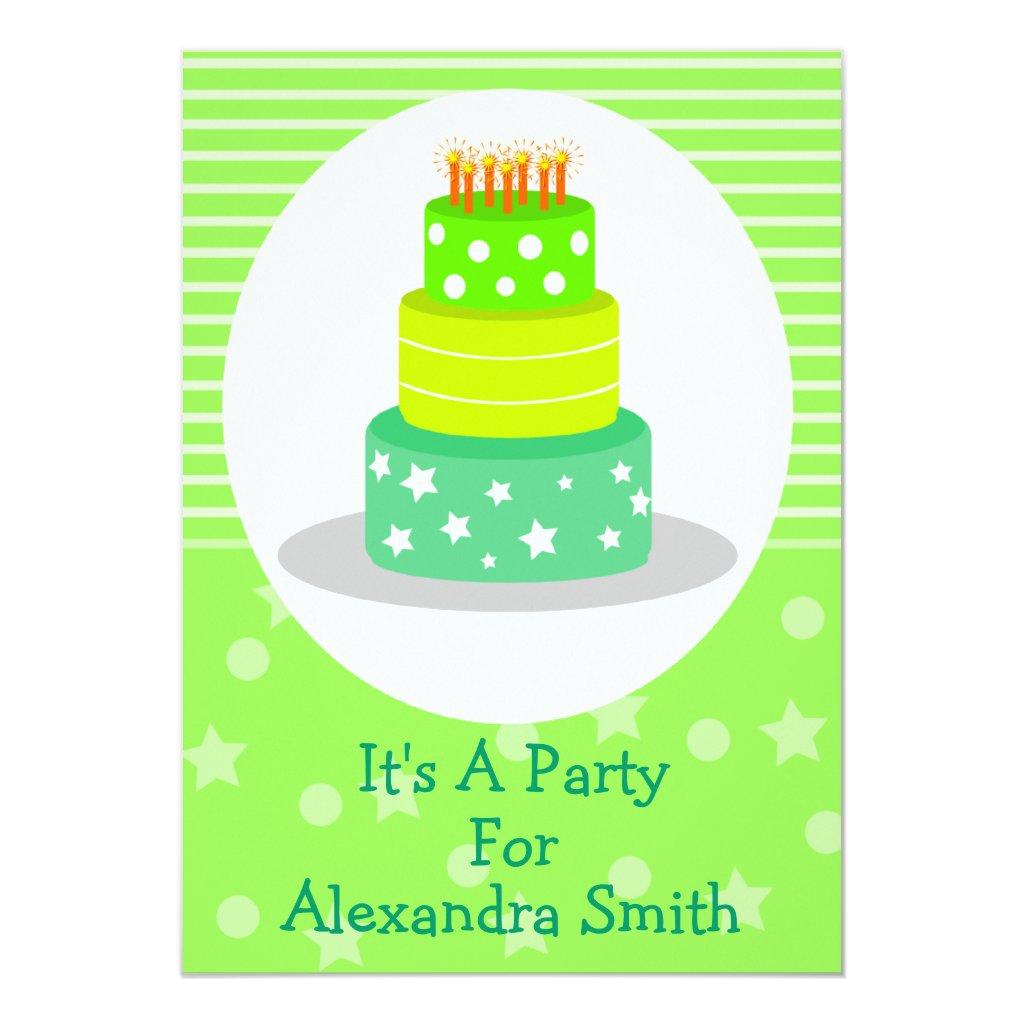 Green Birthday Cake Birthday Party Invitations