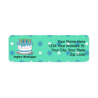 Green Birthday Cake Return Address Labels