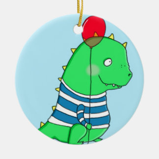 Green birthday Dinosaure with red balloon Ceramic Ornament