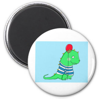 Green birthday Dinosaure with red balloon Magnet