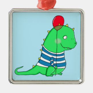Green birthday Dinosaure with red balloon Metal Ornament