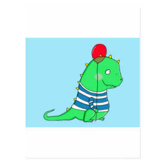 Green birthday Dinosaure with red balloon Postcard