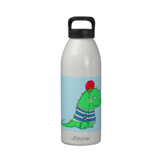 Green birthday Dinosaure with red balloon Drinking Bottle