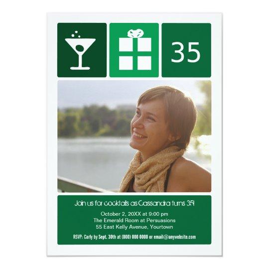 Green Birthday Icon Grid Photo Card