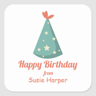 Green Birthday Party Hat Square Sticker