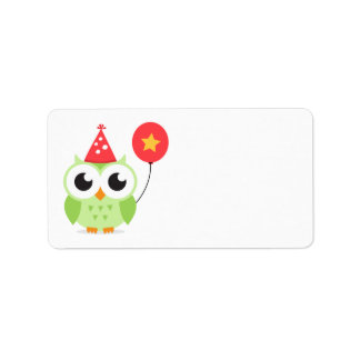 Green birthday party owl with balloon blank personalized address label