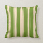 [ Thumbnail: Green & Bisque Colored Lines Pattern Throw Pillow ]