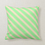 [ Thumbnail: Green & Bisque Lined/Striped Pattern Throw Pillow ]