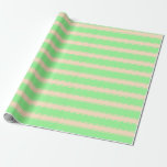 [ Thumbnail: Green & Bisque Lined/Striped Pattern Wrapping Paper ]