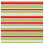 [ Thumbnail: Green, Bisque, Red, Maroon & Tan Stripes Fabric ]