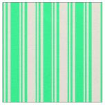 [ Thumbnail: Green & Bisque Stripes Pattern Fabric ]