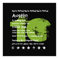 10 year old boy gifts on zazzle green black 10th birthday party 10 year old v02b1 invitations stationery stopboris Choice Image