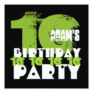GREEN BLACK 10th Birthday Party 10 Year Old V02B Personalized Invite