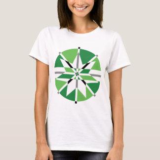 Green & Black 7 Point Star Design T-Shirt