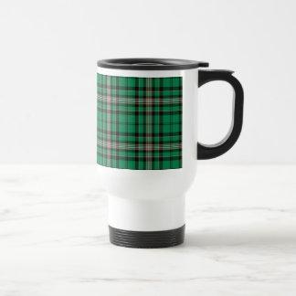 Green, Black and Gold Sporty Plaid Travel Mug