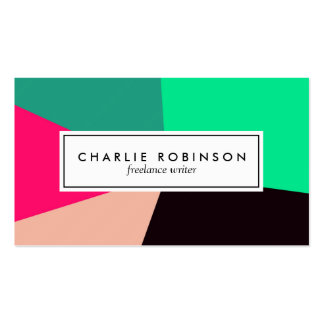Green, black and pink color block business card
