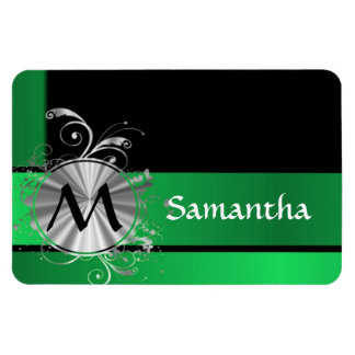 Green black and silver monogram magnet