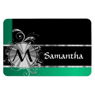 Green black and silver monogram rectangular magnets