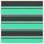 [ Thumbnail: Green, Black, and Violet Lines Fabric ]