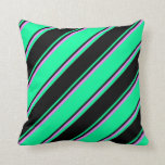 [ Thumbnail: Green, Black, and Violet Lines Throw Pillow ]