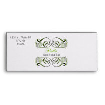green  black and white Chic Business envelopes
