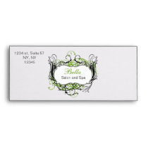 green, black and white Chic Business envelopes