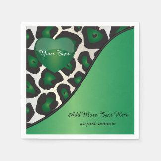Green, Black and White Jaguar Print with Heart Napkin