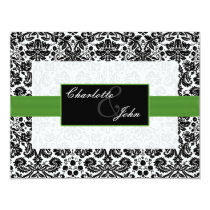 green, black and white Save the date Card