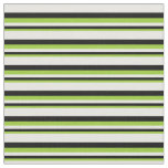 [ Thumbnail: Green, Black, and White Stripes/Lines Pattern Fabric ]