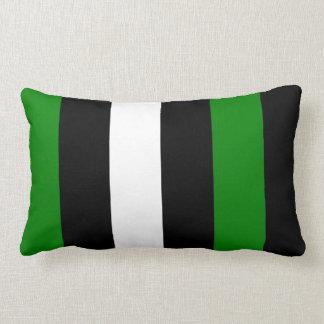 Green Black And White Stripes Pillow