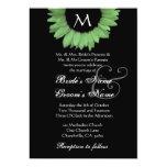 Green Black and White Sunflower Wedding Invitation