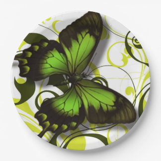 Green Black and Yellow Butterfly Artwork Scrolls Paper Plate