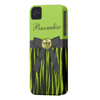 Green & Black Animal Print Bow & Bling iPhone 4 iPhone 4 Cover