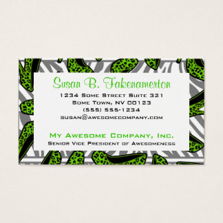 Green & Black Animal Print High Heel Shoes Business Card