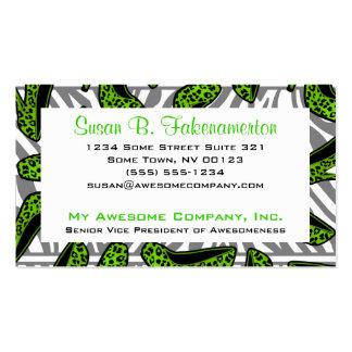 Green & Black Animal Print High Heel Shoes Business Card