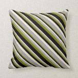 [ Thumbnail: Green, Black, Beige, and Dark Gray Colored Lines Throw Pillow ]
