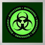 Green & Black Biohazard Symbol Poster w/ Text